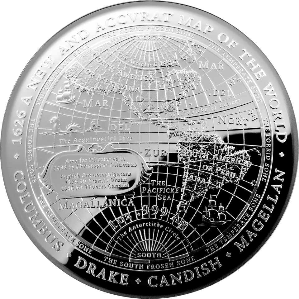 2019 $5 1642 A New World Map Fine Silver Domed Coin