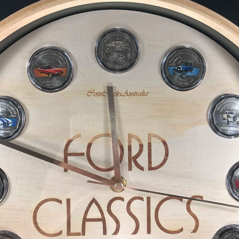 Coin Clock 2017 FORD AUSTRALIAN CLASSICS Complete 50c Coin Collection in Custom Made Clock