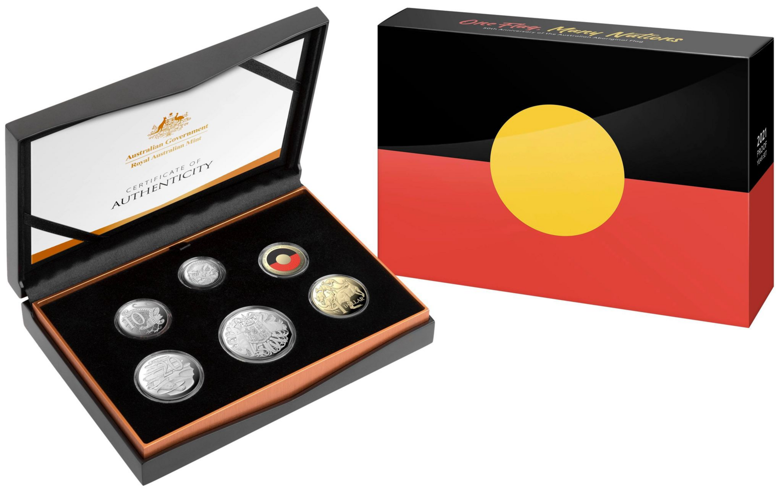 2021 50th Anniversary Of The Australian Aboriginal Flag UNC 6 Coin RAM Proof Set