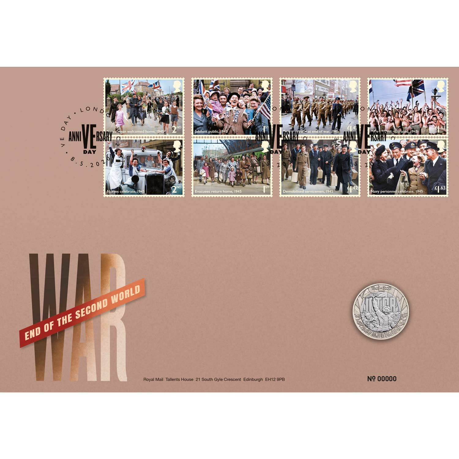 2020 £2 75th Anniversary of VE Day Brilliant UNC Coin Cover