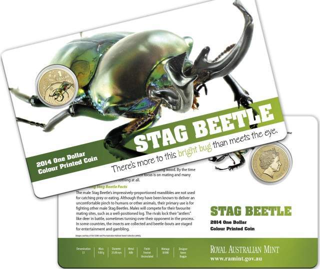 2014 $1 Stag Beetle - Bright Bugs Series Colour Printed Coin UNC