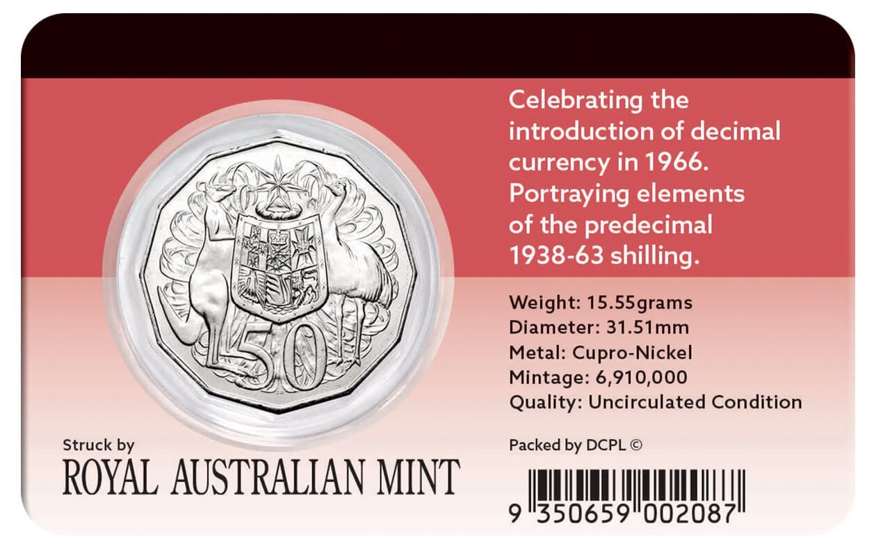 2016 50c 50th Anniversary Of Decimal Currency Coin Pack