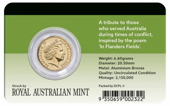 2015 $2 Red ANZAC DAY Coin Pack