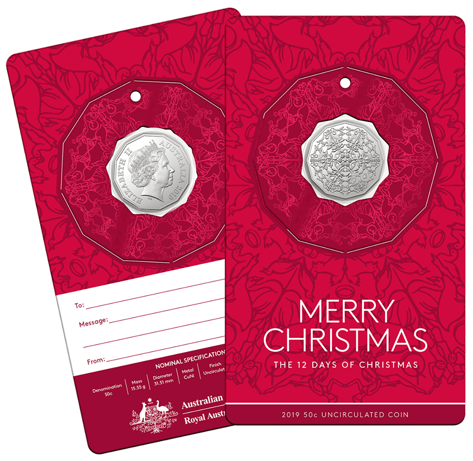 Twelve Days Of Christmas Notes.2019 50c 12 Days Till Christmas Uncirculated Coin