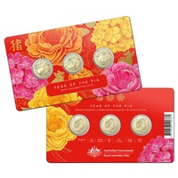 2019 $1 Year of the Pig Fu Lu Shou 3 Coin Set