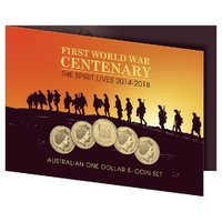 2014 - 2018 $1 100 Years of ANZAC-Spirit Lives 5 Coin UNC Set