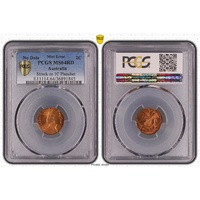NO DATE 2 Cent Struck on 1 Cent Planchette Error PCGS Graded MS64RD