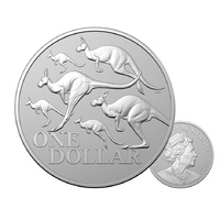 2020 $1 Red Kangaroo Frosted Silver 1 Oz In Capsule - Kangaroo Series