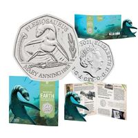 2021 50p Dinosaur Plesiosaurus Copper-Nickel Brilliant UNC