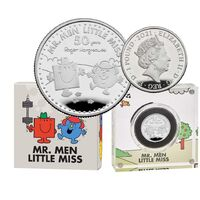 2021 50th Anniversary of Mr Men, Mr Strong & Little Miss Giggles £1 1/2oz Silver Proof Coin