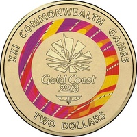 2018 $2 Commonwealth Games Red Coloured Uncirculated Coin