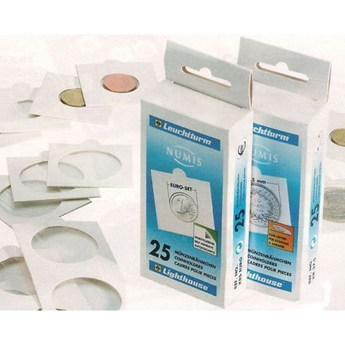 25 X Self Adhesive 2x2  Lighthouse Matrix Coin Holder Flips To Suit All Australian Coins [2x2 Size: 17.5mm (AU Threepence)]