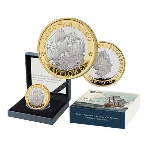 2020 £2 Mayflower Silver Proof Coin