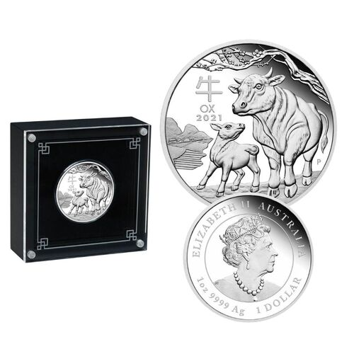2021 $1 Lunar Ox 1oz Silver Proof Coin