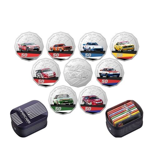 2020 V8 Supercars 60th Anniversary 9 x 50c Coin Collection